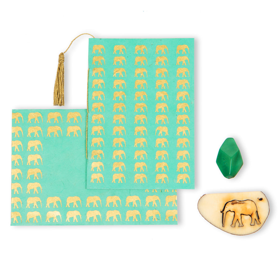 Mint Green & Gold Elephant Greeting Card