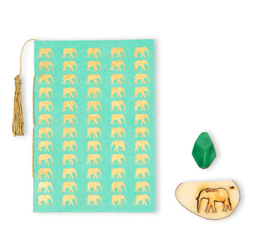 Mint Green & Gold Elephant Conservation Greeting Card