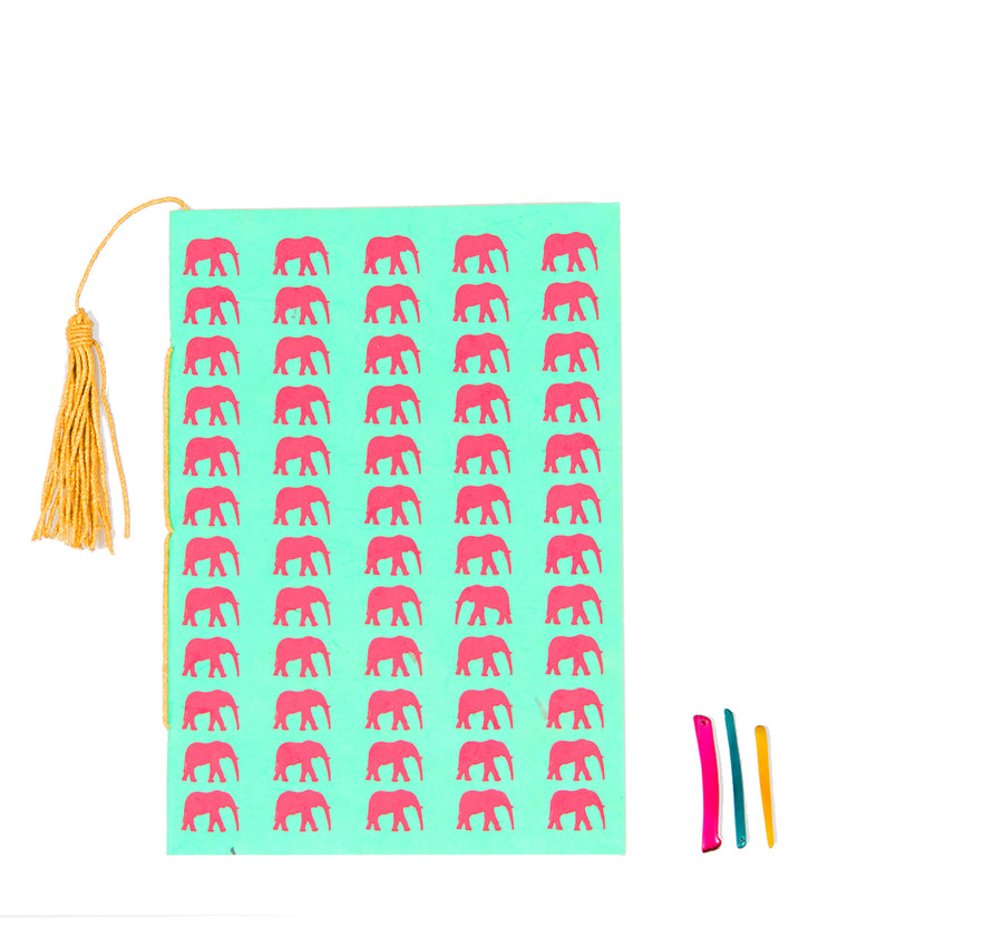 Mint Green & Rose Elephant Conservation Greeting Card