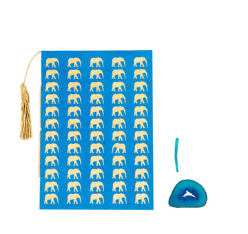 Azure Blue & Gold Elephant Greeting Card