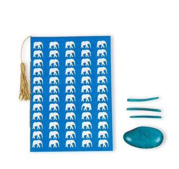 Azure Blue & Silver Elephant Greeting Card