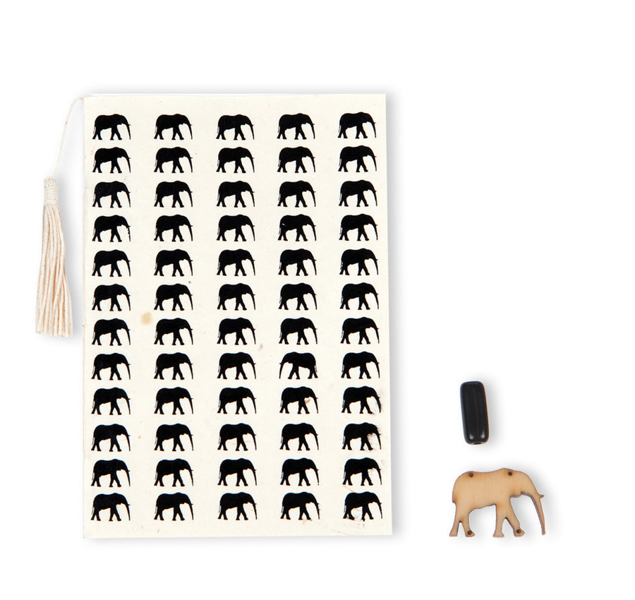 Natural & Black Elephant Conservation Greeting Card