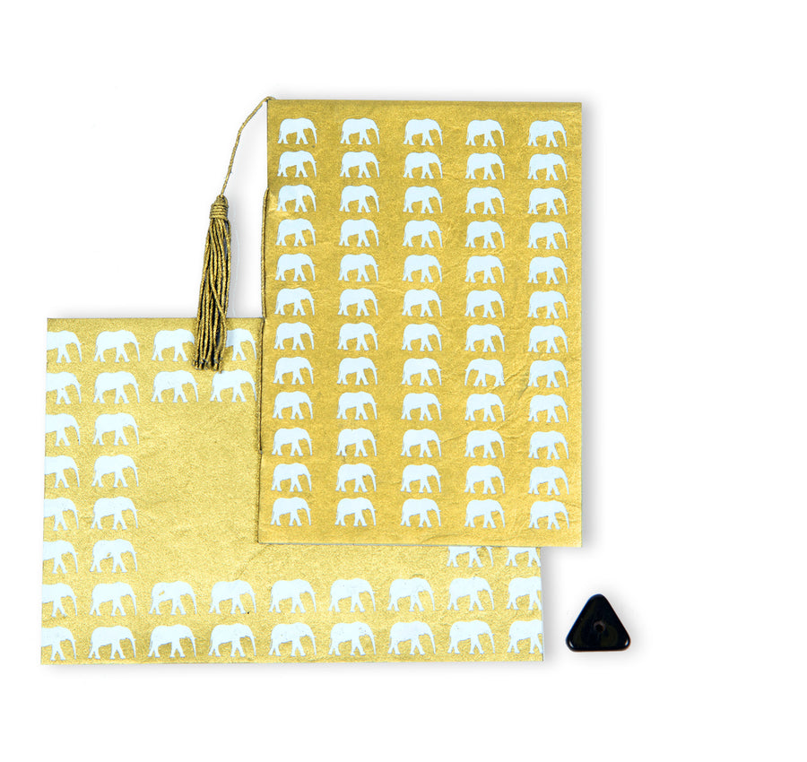 Gold & White Elephant Conservation Greeting Card