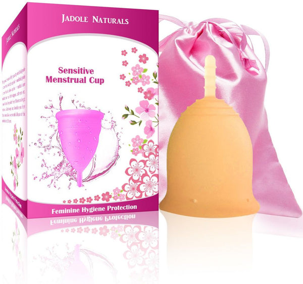 Menstrual Cup Tampon and Pad Alternative - Feminine Hygiene Protection - Small - Orange