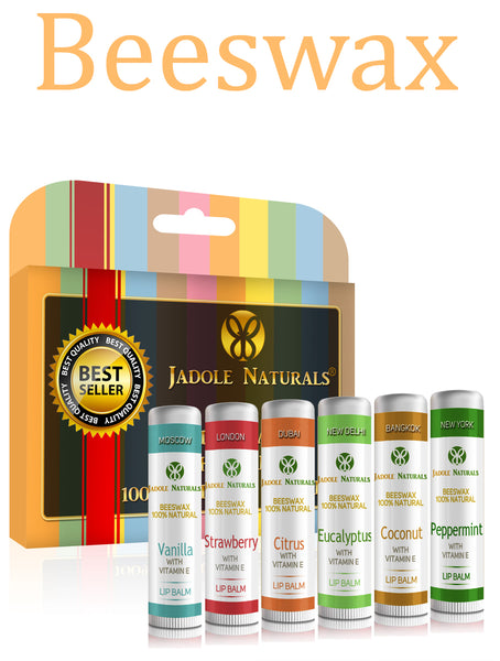 Moisturizing Lip Balm 100% Natural Beeswax with Vitamin E & Peppermint Oil - 6 Tubes