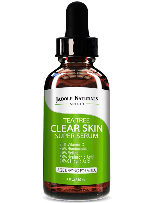 Tea Tree Clear Skin Serum, Age-Defying formula with 20% Vitamin C, Retinol, Niacinamide, Salicylic Acid & Hyaluronic Acid for Blemish-Free, Soft, Radiant, Youthful Skin. 1oz