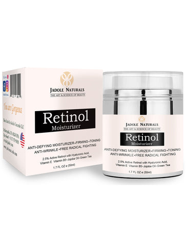 Beauty Retinol Moisturizer Cream for Face and Eye Area Night and Day Moisturizing 1.7 Oz