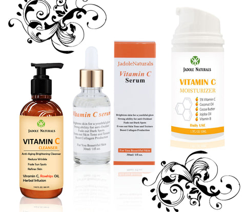 Vitamin C Serum + Moisturizer + Cleanser Set