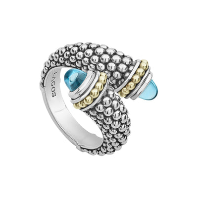 Lagos Signature Caviar Gemstone Crossover Ring-Bachendorf's Dallas - Fort Worth's Finest Designer Jewelry