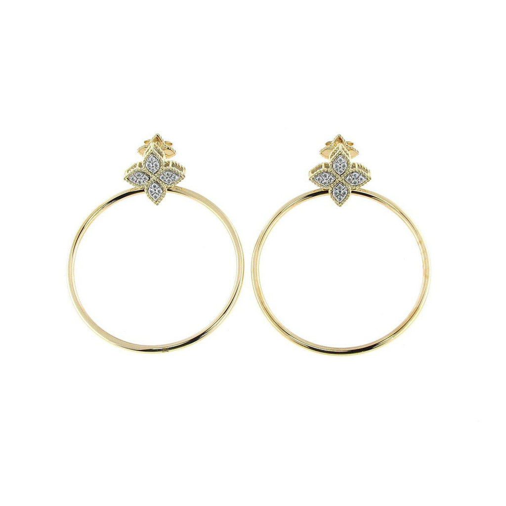 Roberto Coin Princess Flower Front Hoop Earrings