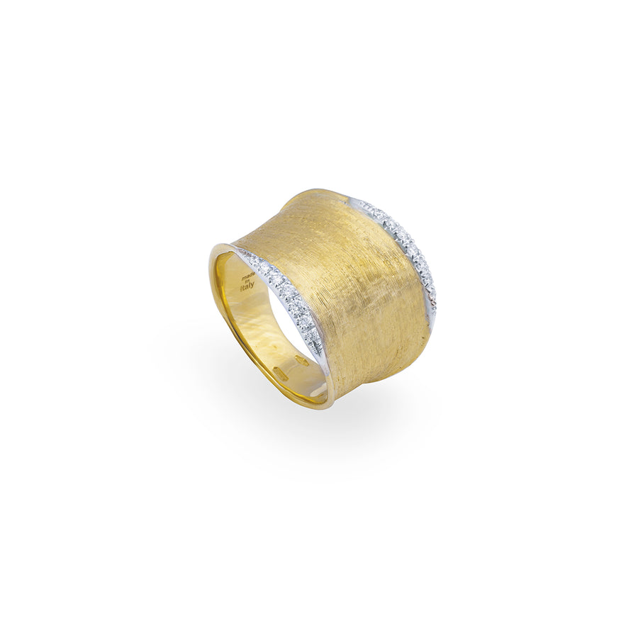 Marco Bicego Lunaria Gold & Diamond Pave Medium Ring