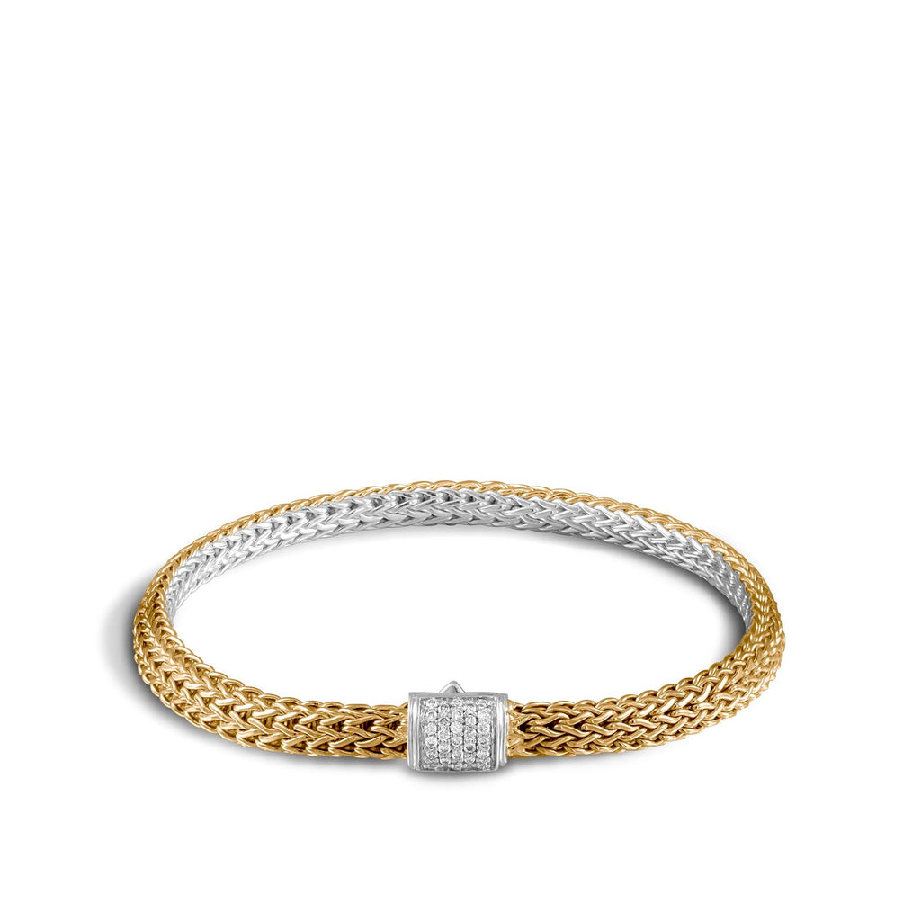 Classic Chain Reversible Bracelet with Diamonds