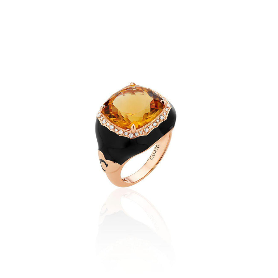 Casato Venus Citrine and Diamond Enamel Ring-Bachendorf's Dallas - Fort Worth's Finest Designer Jewelry