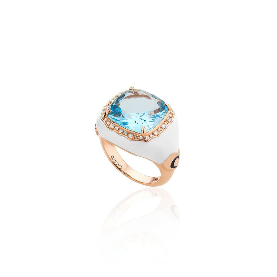 Casato Venus Blue Topaz and Diamond Enamel Ring-Bachendorf's Dallas - Fort Worth's Finest Designer Jewelry