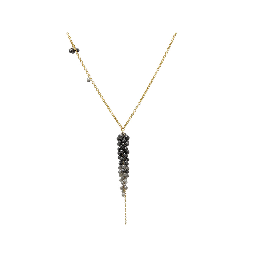 Gurhan Dew Diamond Necklace, long Pendant, graduated cluster of Black and Grey Briolettes