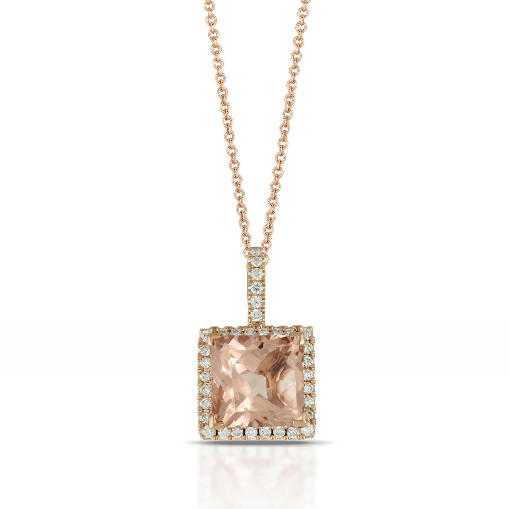 Doves Morganite Square Pendant-Bachendorf's Dallas - Fort Worth's Finest Designer Jewelry