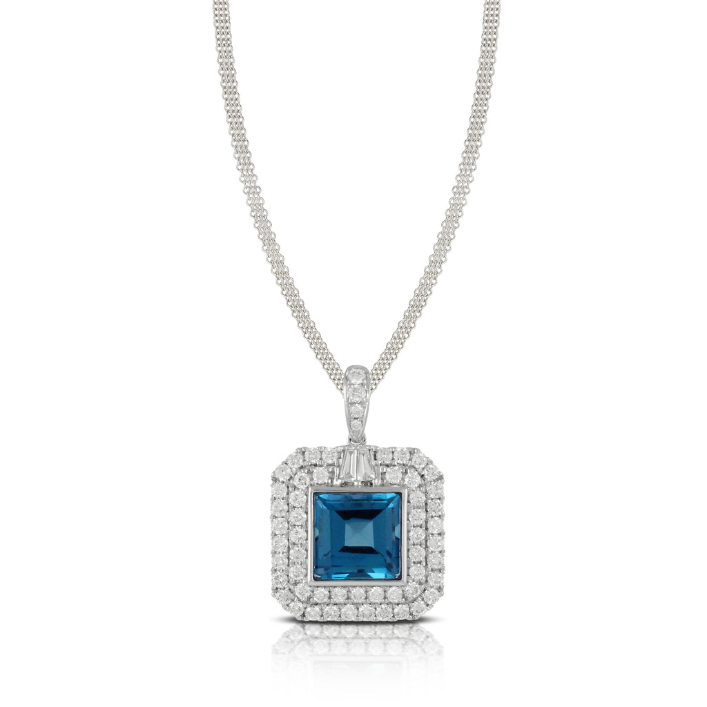 Doves London Blue Topaz Square Pendant-Bachendorf's Dallas - Fort Worth's Finest Designer Jewelry