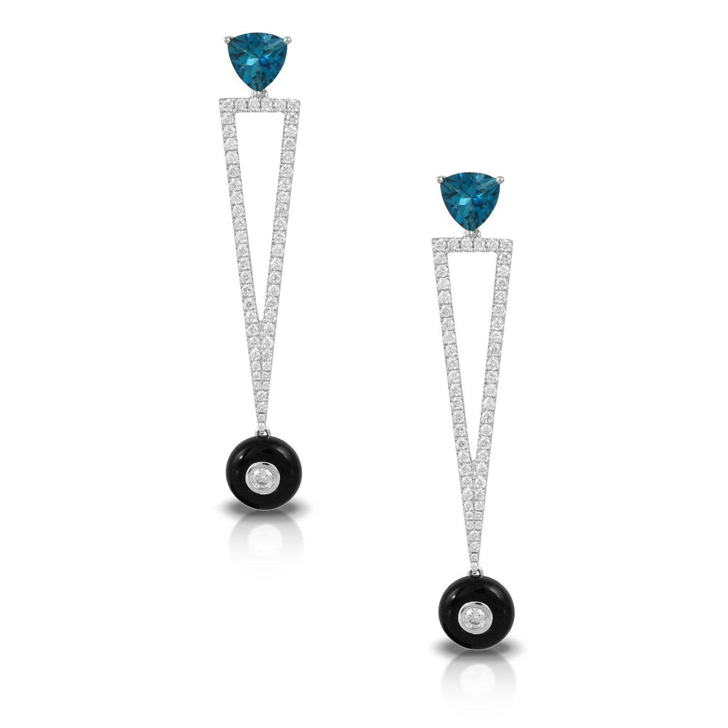 Doves Blue Topaz Triangle Drop Earrings-Bachendorf's Dallas - Fort Worth's Finest Designer Jewelry