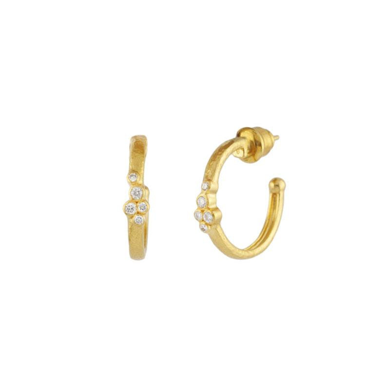 Gurhan Pointelle Hoop Earrings with Diamonds