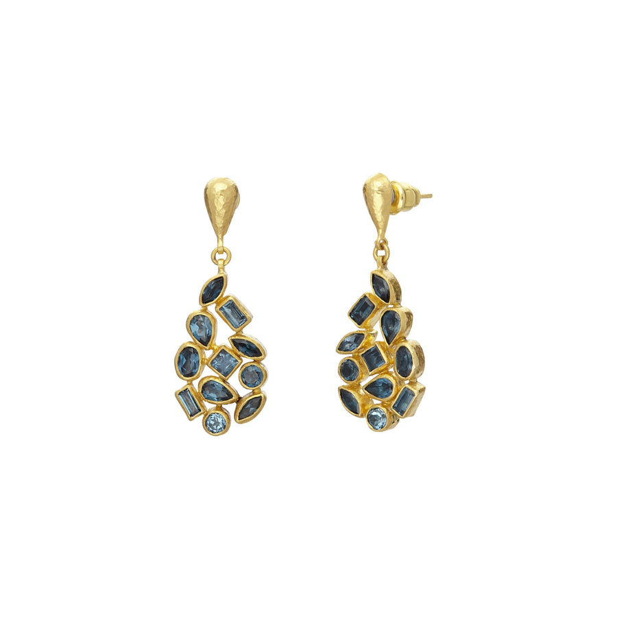 Gurhan Pointelle Drop Earrings, faceted Blue Topaz