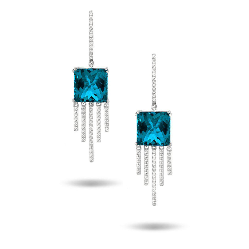 Doves London Blue Drop Fringe Earrings
