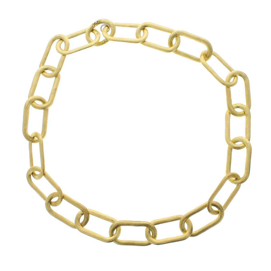 Hand Etched 18K Gold Link Chain Necklace