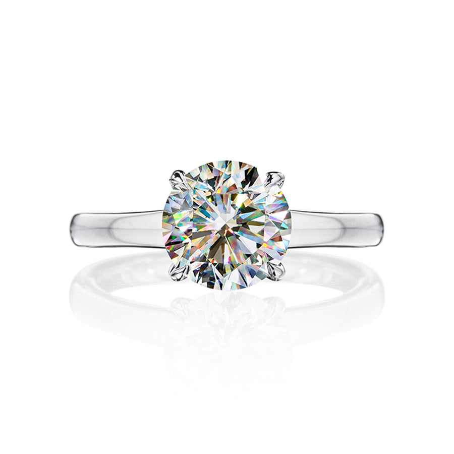Fire Polish Diamond Solitaire Ring