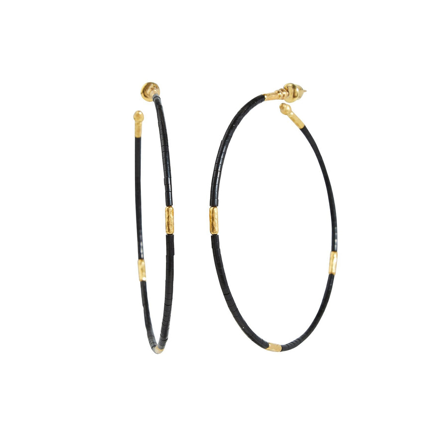 Gurhan Jet Set Hoop Earrings, Jet, large, 65mm