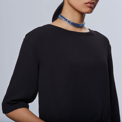 John Hardy Asli Classic Chain Link Bib Necklace with Mixed Blue-Bachendorf's Dallas - Fort Worth's Finest Designer Jewelry