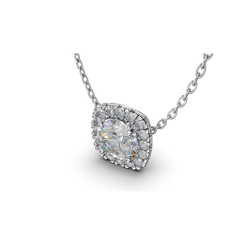 Diamond Halo Pendant with Fire Polish Diamond Center Stone