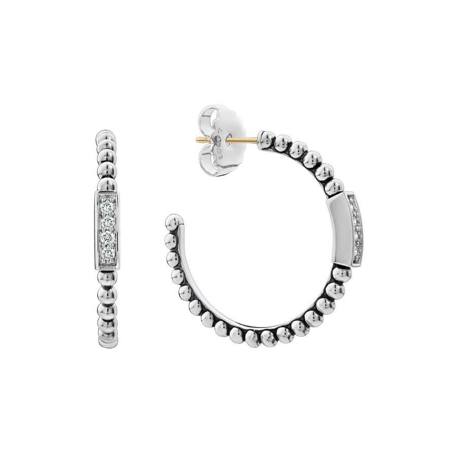 Lagos Caviar Spark Hoop Earrings With Diamonds-Bachendorf's Dallas - Fort Worth's Finest Designer Jewelry