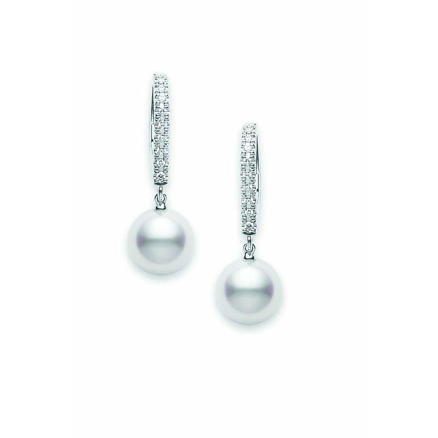 Mikimoto Classic Pearl Drop Earrings with Diamonds-Bachendorf's Dallas - Fort Worth's Finest Designer Jewelry