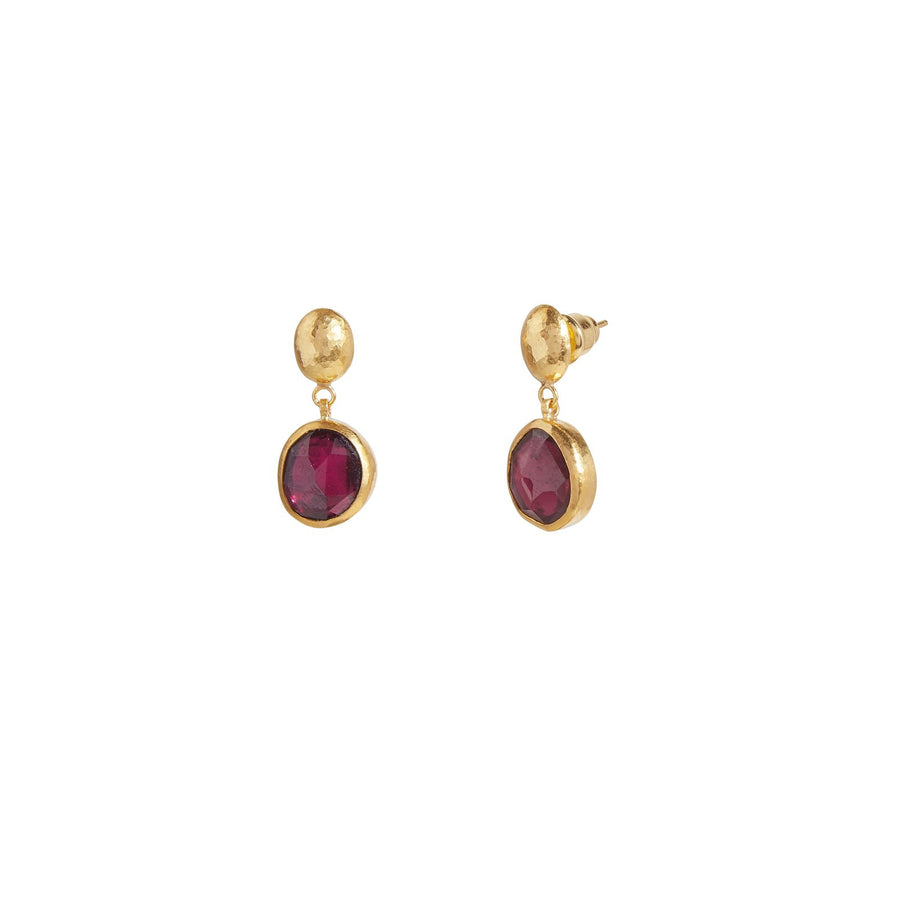 Gurhan Elements Drop Earrings, amorphous rosecut Rhodolite Garnet