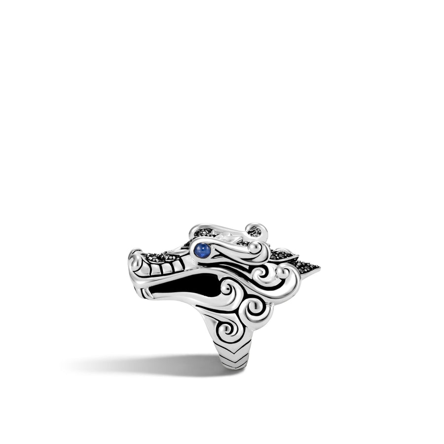 Naga Ring with Black Sapphire, Black Spinel