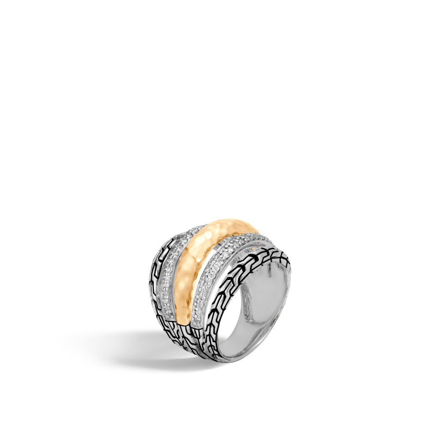 Classic Chain Hammered Ring with Diamonds