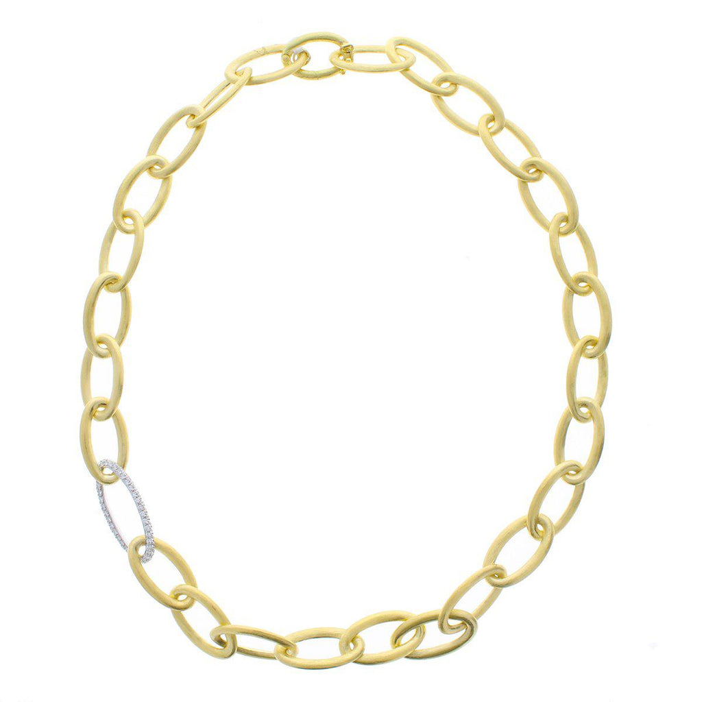 Gold Link Necklace with Diamonds