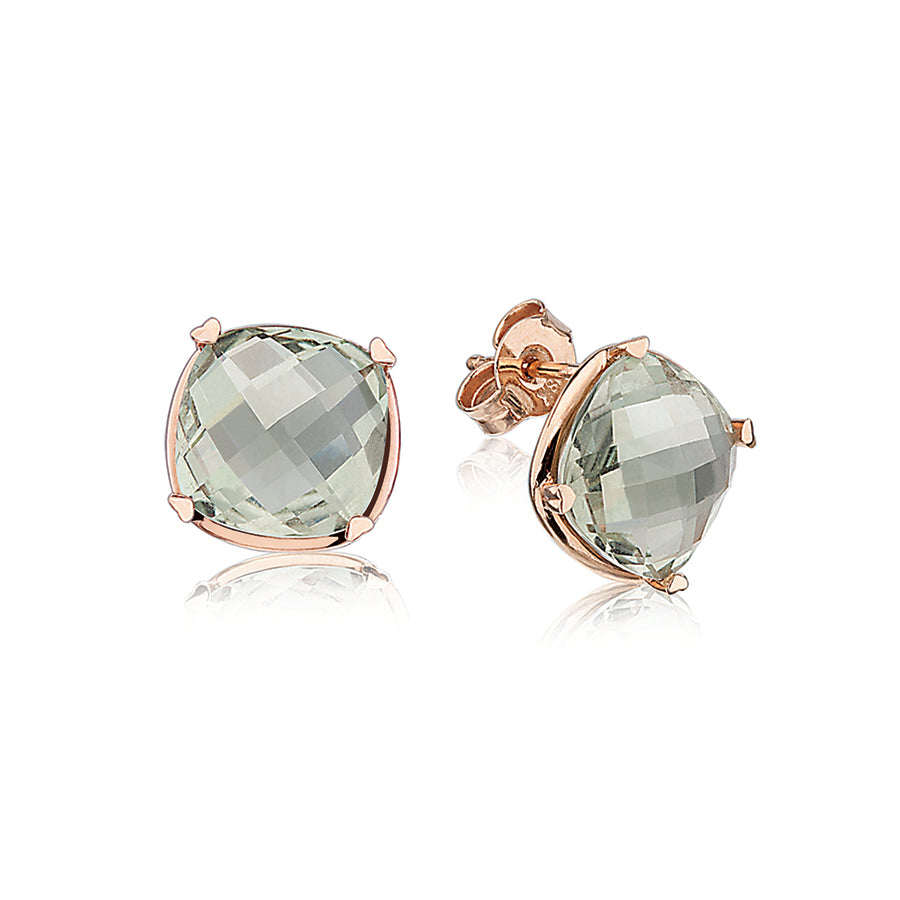 LISA NIK GREEN QUARTZ STUDS