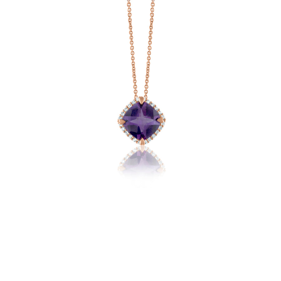 LISA NIK AMETHYST CUSHION PENDANT