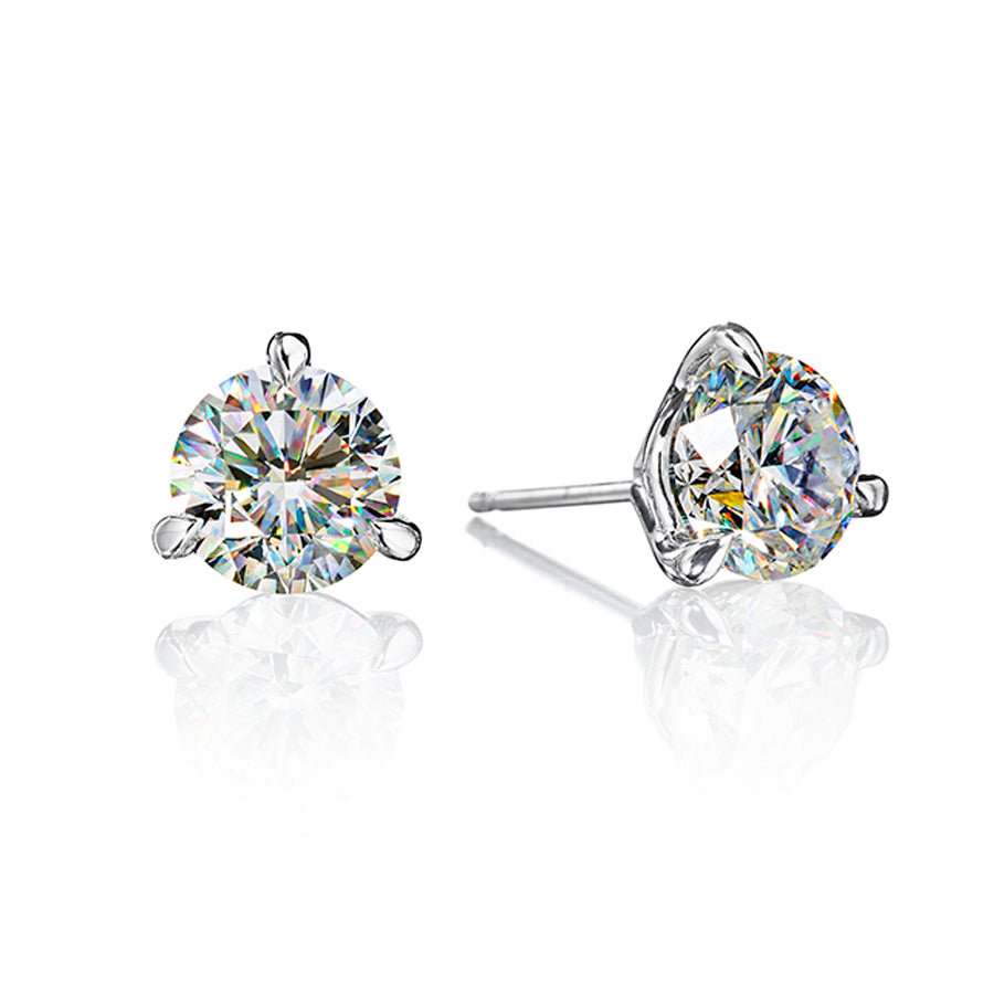 Fire Polish Diamond 3 Prong Martini Studs