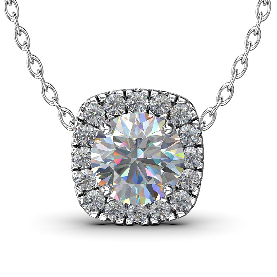 Fire Polish Diamond Halo Pendant