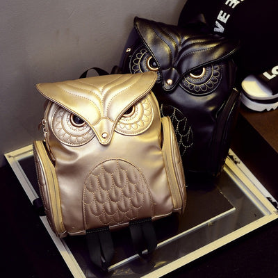 Newest Stylish Cool Black PU Leather Owl Backpack Female.