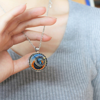 Astrology Clock pendant Astrology Clock necklace.