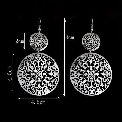 Womens Vintage Round  Earrings White Gold  Fashion Jewelry .