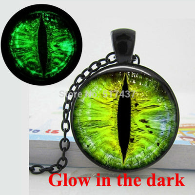 Dark Pendant green eye necklace Dragon eye art photo glass cabochon necklace jewelry.