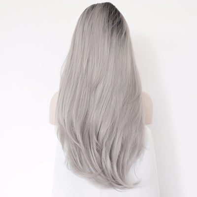 BeautyTown L Lace Part Handmade Black Ombre Grey Heat Resistant Hair Perruque.