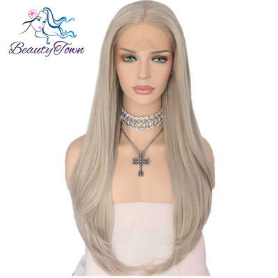 BeautyTown Platinum Grey Natural Straight Party Wigs