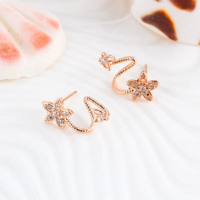 Crystal Flower Earrings Luxury Double Sided Stud Earring