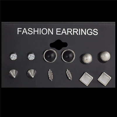 6Pcs/Set Silver Color Crystal Stud Earrings For Women Vintage