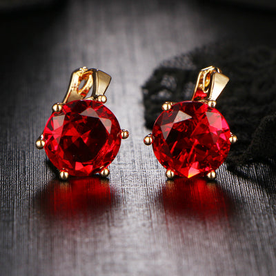 7 Color Vintage Punk Silver Color Crystal  Earrings for Women.