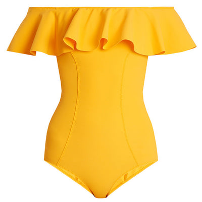 One Piece, Off The Shoulder Solid Swimwear for Women